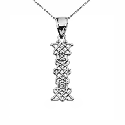 """""""I"""" Initial In Celtic Knot Pattern Sterling Silver Pendant Necklace"""
