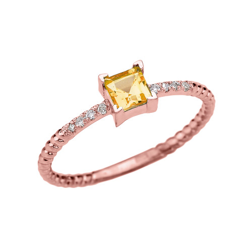 Dainty Rose Gold Solitaire Princess Cut Citrine and Diamond Rope Design Engagement/Promise Ring