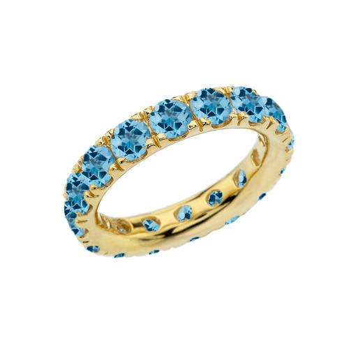 4mm Comfort Fit Yellow Gold Eternity Band With 5.25 ct December Birthstone Genuine Blue Topaz