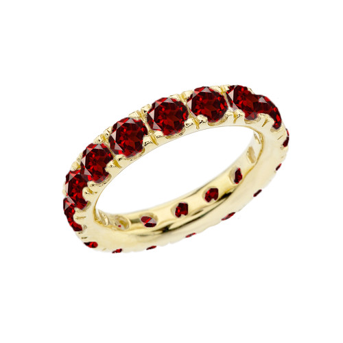 4mm Comfort Fit Yellow Gold Eternity Band With 5.10 ct January Birthstone Genuine Garnet