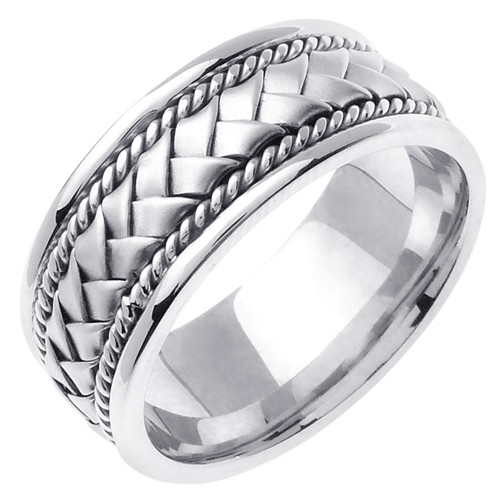 Hand Woven Wedding Band White Gold