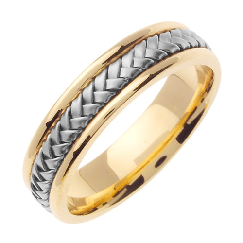 Two Tone Gold Hand-Braided Wedding Band