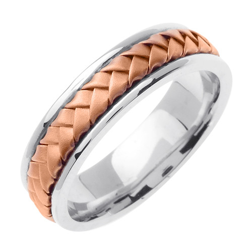 Hand Woven Rose Gold Wedding Band
