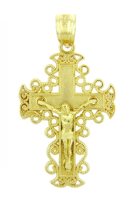 Yellow Gold Crucifix Pendant - The Rejoice Crucifix