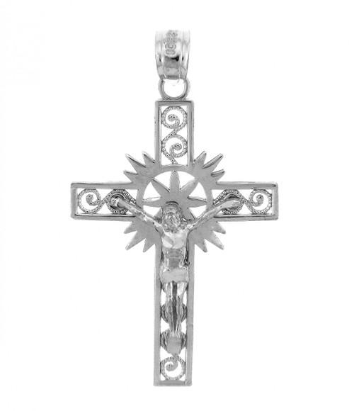 White Gold Crucifix Pendant - The Hope Crucifix