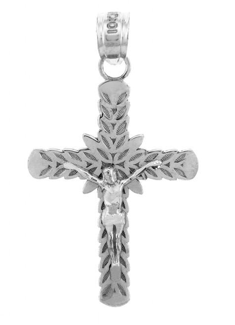 White Gold Crucifix Pendant - The Laurel Crucifix