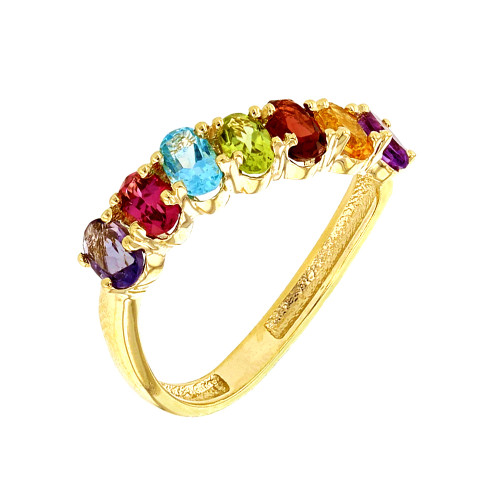 Yellow Gold Wavy Stackable Multi-Colored Ring