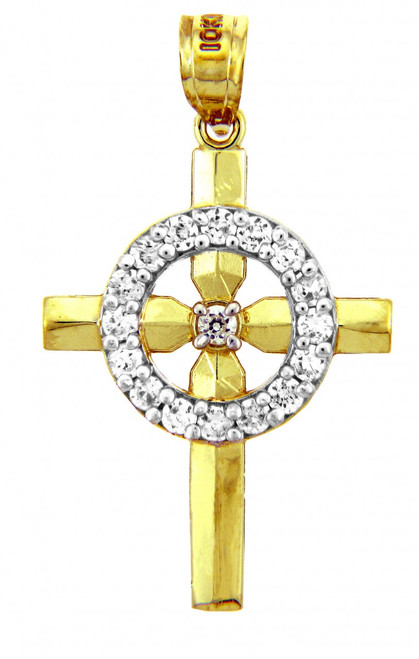 Religious Charms - The Yellow Gold Eternity Cross Charm