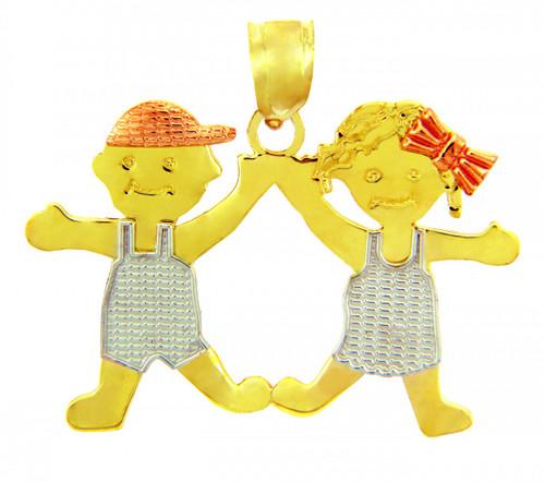 Yellow GoldBoy and Girl Tri Tone Charm