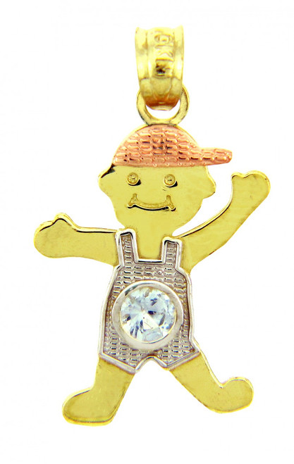 Tri Tone Gold Boy Birthstone Charm w/ Light Blue CZ