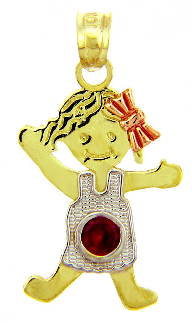 Tri Color CZ Ruby  Girl Tri Tone Birthstone Charm