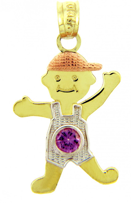 Tri Tone Gold Boy Birthstone Charm w/ CZ Light Amethyst