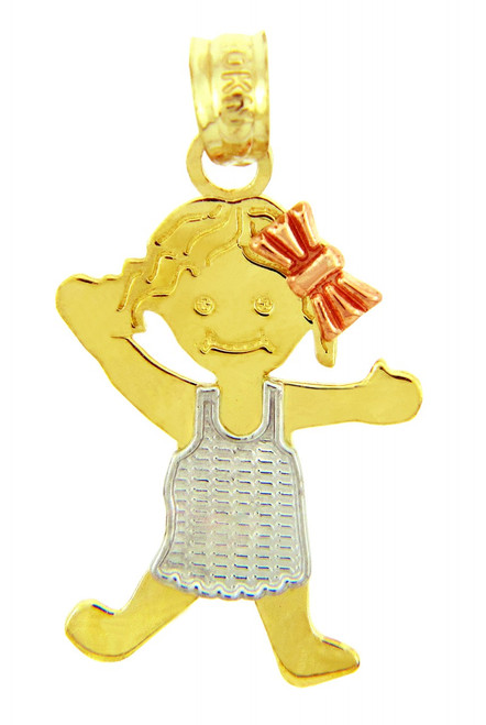 Pinafore Girl Tri Tone Gold  Charm