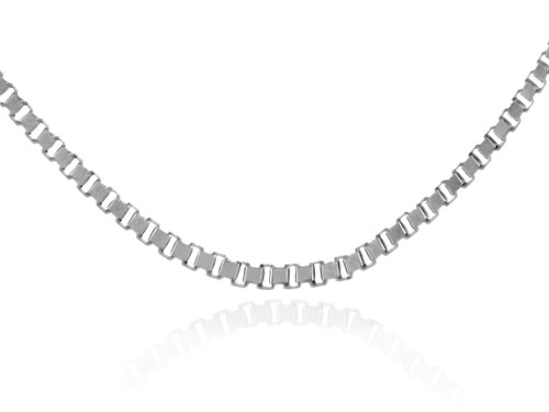 Gold Chains: Box Link White Gold Chain 0.92mm