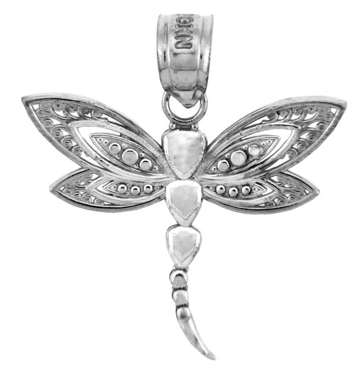 White Gold Charms - The White Gold Dragonfly Pendant