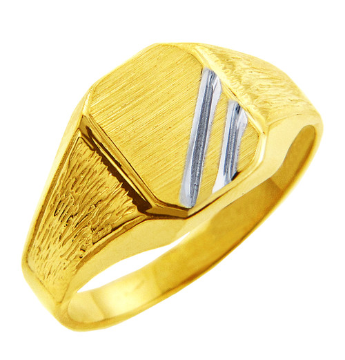 Mens Two-Tone Solid Gold Zeus Signet Ring
