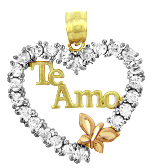 Gold Pendants - The Te Amo Gold Pendant in Cubic Zirconia with Butterfly