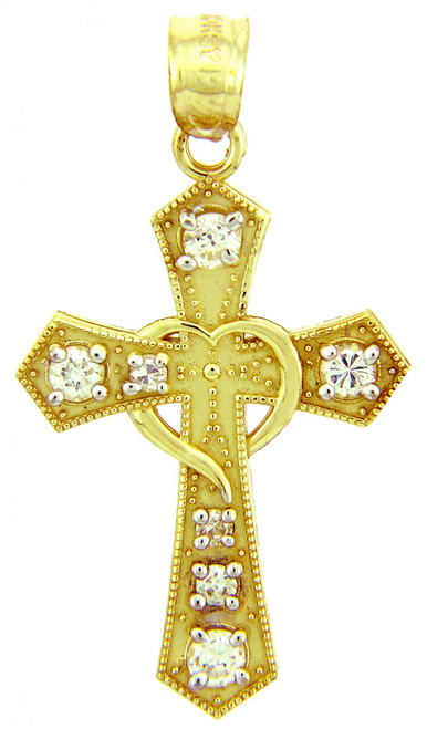 Gold Pendants - The CZ  Cross Gold Pendant