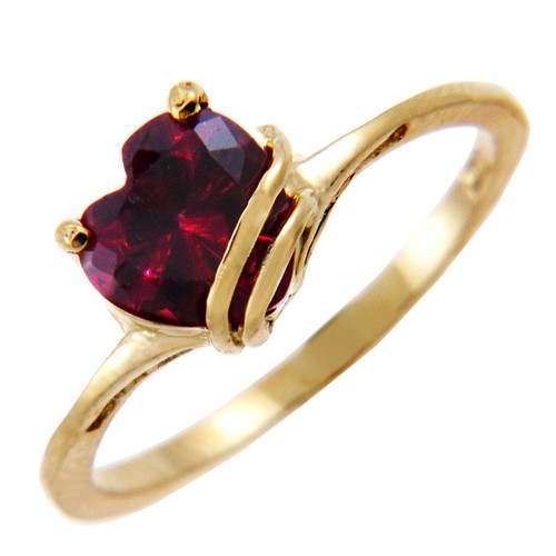Ladies Gold CZ Rings - Gold Fancy Ring with Dark Red Cubic Zirconia Heart