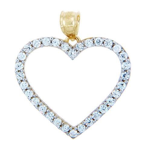 Gold Pendants - Cubic Zirconias Gold Heart Pendant