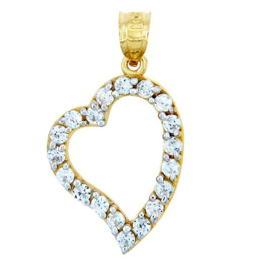 Gold Pendants - Asymmetric Gold Heart Pendant with Cubic Zirconias