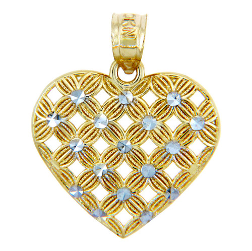 Gold Pendants - Two Tone Gold Heart of Flowers Pendant