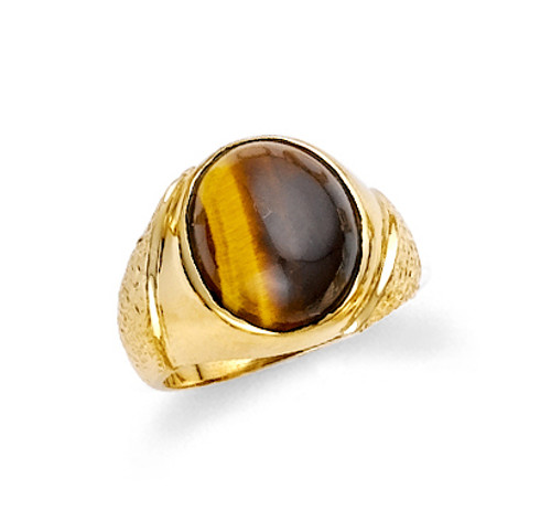 Circle tiger eye men's ring in 10k or 14k yellow gold.