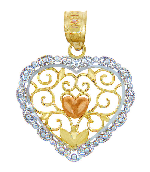 Valentines Special Heart - Gold Heart and Flower Pendant