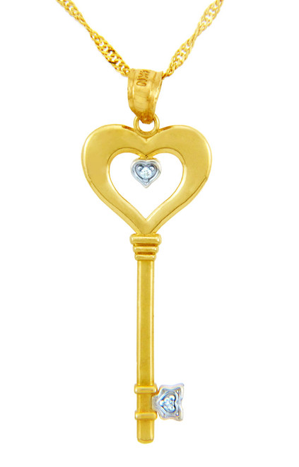 Valentines Special Heart Diamonds - Gold Key and Heart Pendant with Diamond (w Chain)