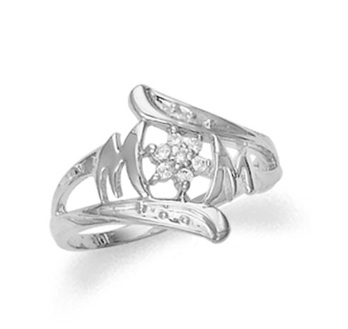 Mom ring with cubic zirconia in 10k or 14k white gold.