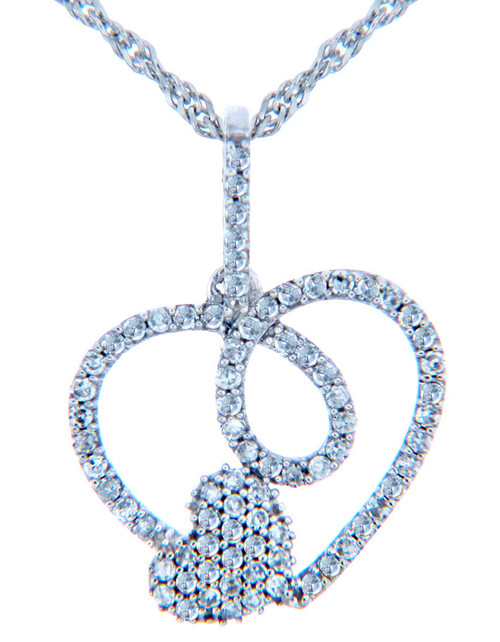 Valentines Special Heart Diamonds - White Gold Loop Heart Pendant with Diamonds (w Chain)