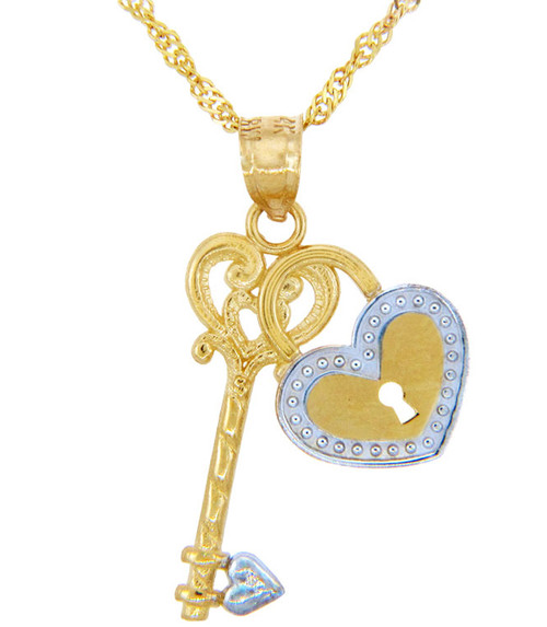 Valentines Special Heart Diamonds - Two Tone Gold Heart Lock and Key Pendant (w Chain)