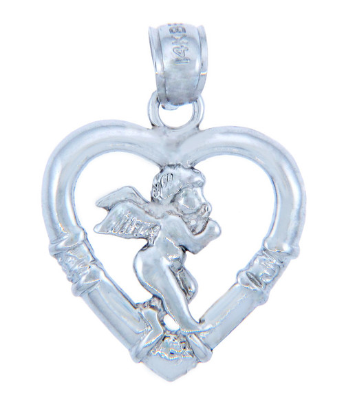 Love and Heart Silver Pendants - Silver Cupid Heart Pendant