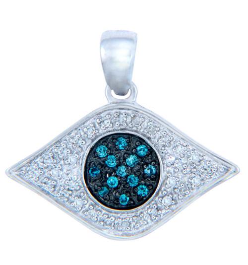 Diamond Pendants - Gold Evil Eye Pendant with Blue Diamonds