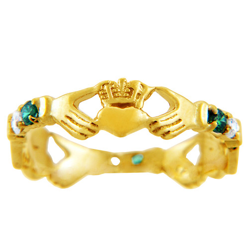Gold Claddagh Ring with Green and Clear Cubic Zirconias.  Available in 14k or 10k gold.