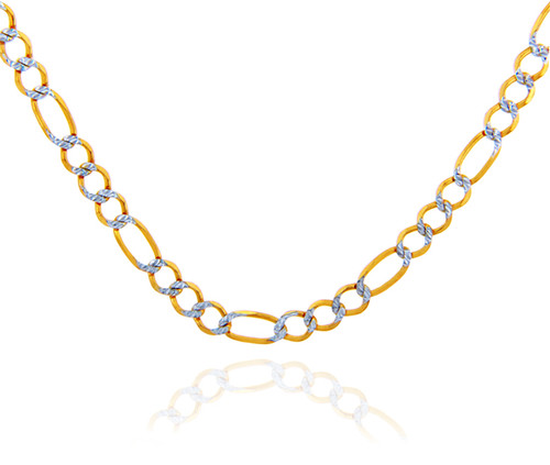 Gold Chains: Figaro Pave Two-Tone 10K Gold Chain 5.8mm