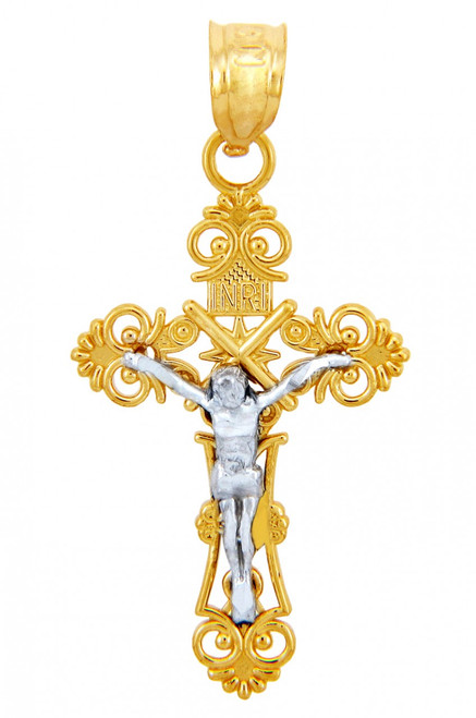 Two Tone Gold Crucifix Pendant - The Radiance Crucifix