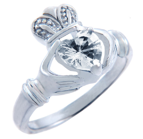 Silver Claddagh Ring with Clear CZ Heart