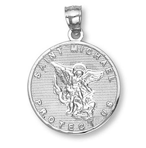 White Gold Saint Michael Pendant