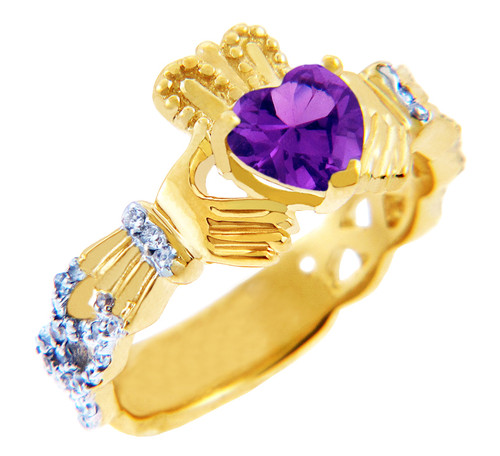 Gold Diamond Claddagh Ring with 0.40 Carats of Diamonds and Amethyst Birthstone.  Available in 14k and 10k Gold.