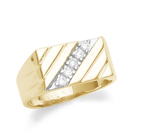 Men's diamond ring in 10k or 14k yellow gold.