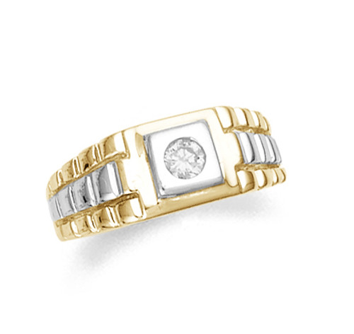 Two-tone gold men's CZ ring.