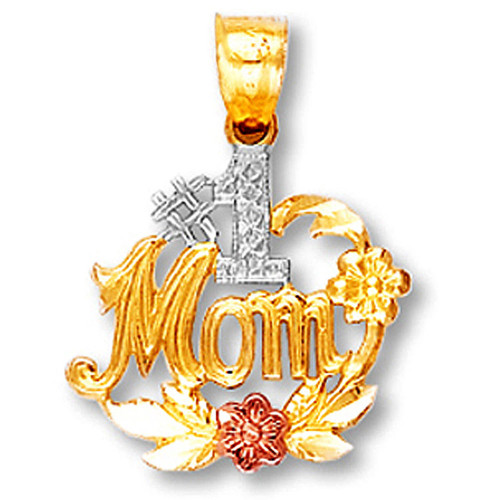 Tri-Tone Gold #1 Mom Pendant