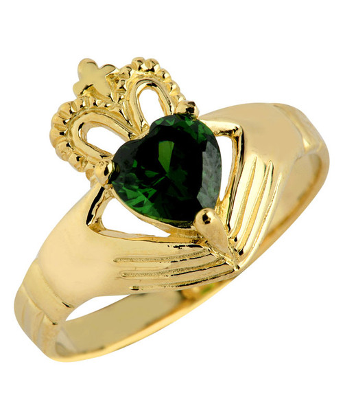 Gold Claddagh Ladies Ring with Emerald