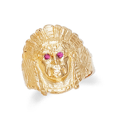 Gold Indian Head Mens Ring with Cubic Zirconia Eyes
