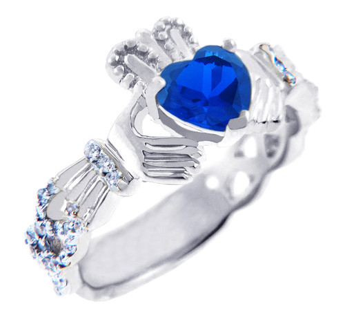 18K White Gold 0.4 Ct Diamond Band Claddagh Ring With 1.10 Ct Genuine Blue Sapphire