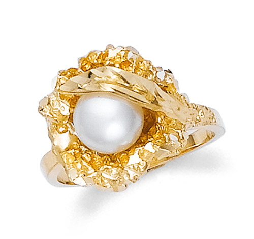 Gold Ladies Bold Pearl Ring