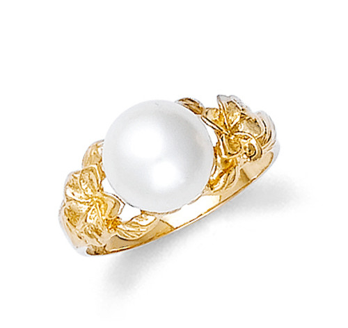 Gold Hawaiian Plumeria Pearl Ring