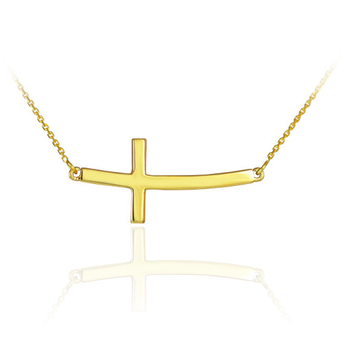 Sideways Curved Cross Necklace: 14K Solid Gold Sideways Curved Cross Necklace