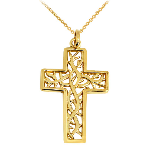 Gold Celtic Trinity Cross Pendant Necklace